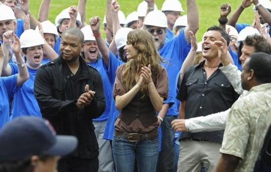 Xzibit celebrating at filming of ABC's Extreme Home Makeover