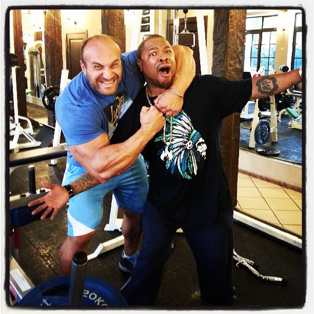 Xzibit at the gym on the morning of Gumball drive day