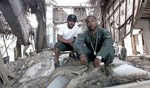 Xzibit and Matt Alonzo (director) in a destoryed building in Iraq